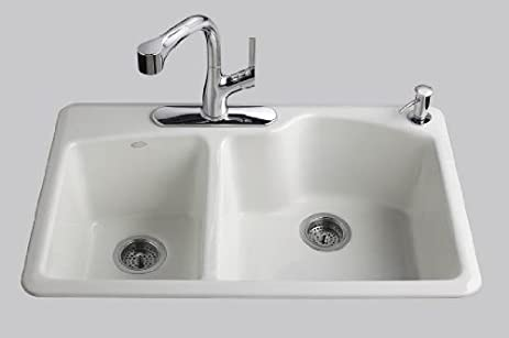 kohler k587040 wheatland selfrimming offset double basin sink