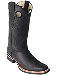 Mens Wide Square Genuine Leather Cowhide Skin Rodeo Boots With Rubber Sole - Western Boots
