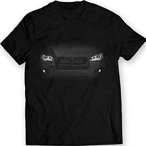 (X6 E71 T-Shirt Headlights 100% Cotton (L, Black))