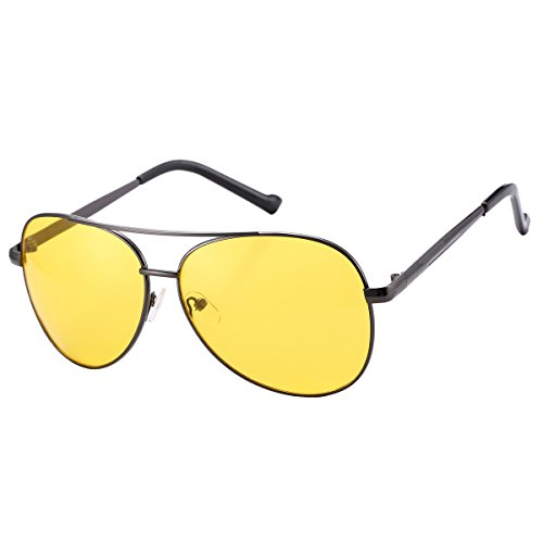 Night Vision HD Driving Glasses for Men Women Nightwatch Anti Glare Yellow Aviator - Hd Vision Aviator Sunglasses