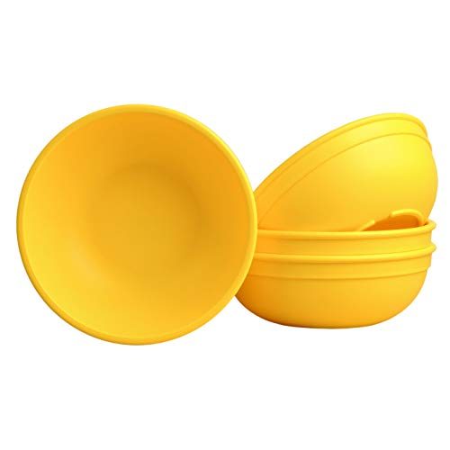 Yellow Plastic Bowls (Re Play Made in USA Set of 4-5.75