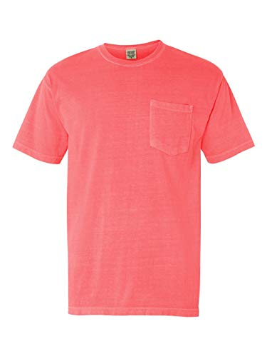 Comfort Colors Ringspun Short Sleeve Pocket Tee, Neon Red Orange, S from Comfort Colors