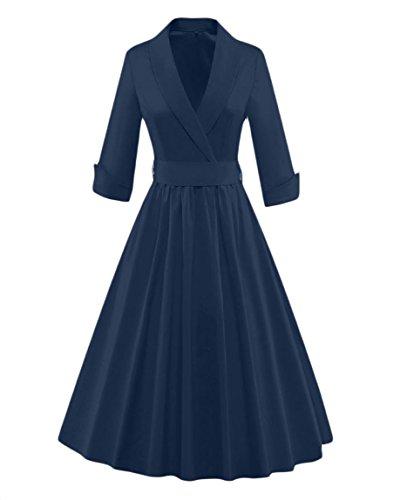 Tea Hepburn Dress Blue Classy Navy Audrey Neck Women V Coolred Pure Style Color A41qIzWxBw