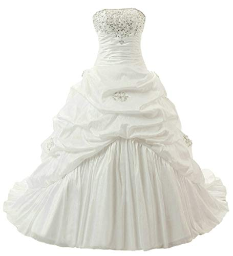 (RohmBridal Women's Strapless Taffeta A-line Wedding Dress Bridal Gown Ivory Size 18)