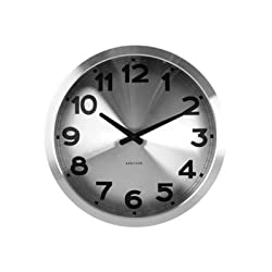 Present Time Karlsson Aluminum Station Wall Clock, Silver
