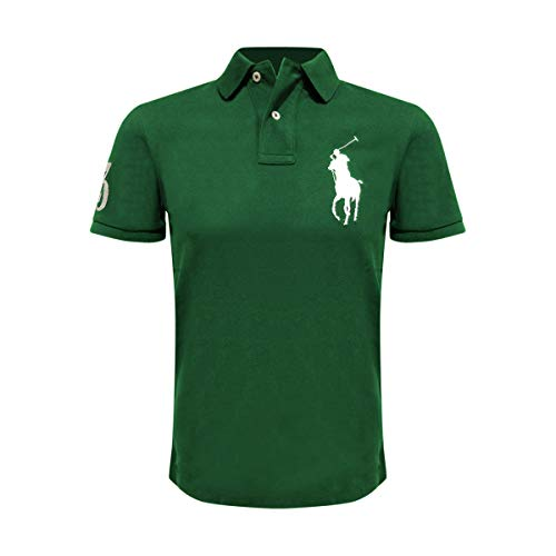 Polo Ralph Lauren Mens Custom Fit Big Pony Logo Polo Shirt (Large, Green/White Pony)