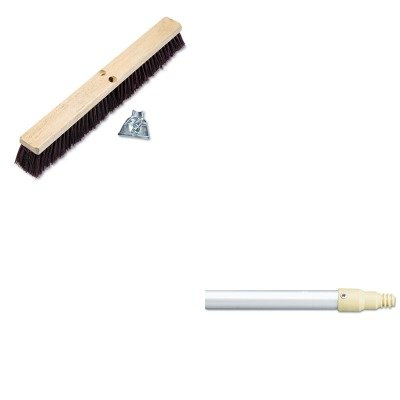 KITBWK20324RCP6355GRA - Value Kit - Boardwalk Floor Brush Head (BWK20324) and Rubbermaid-Gray Aluminum With Plastic Threaded End (RCP6355GRA) by Boardwalk