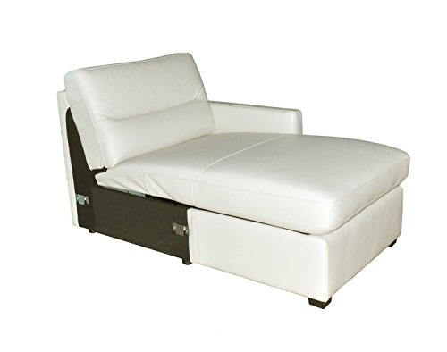 Natuzzi Editions Galileo Cream Leather Right Arm Facing Storage Chaise