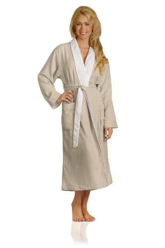 Plush Necessities Luxury Spa Robe - Microfiber with Cotton Terry Lining, Seashell, Large