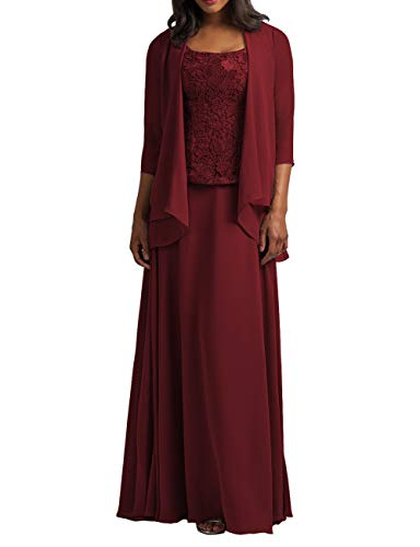 Cdress Chiffon Mother of The Bride Dresses with Jacket Long Evening Formal Gowns Plus Size Lace Prom Dress Deep Burgundy US 26W
