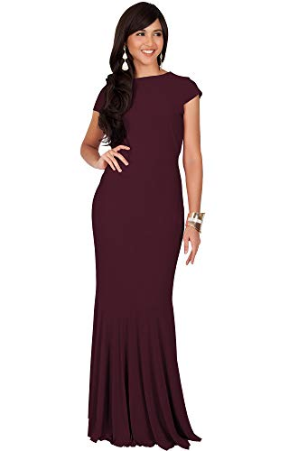 KOH KOH Plus Size Womens Long Cap Short Sleeve Formal Sexy Evening Cocktail Bridesmaids Wedding Guest Tube Flowy Cute Fishtail Gown Gowns Maxi Dress Dresses for Women, Maroon Wine Red 2XL 18-20