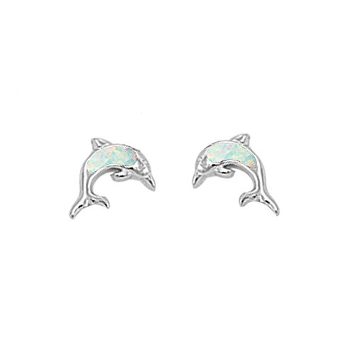 (Cute Lab Created Opal Dolphin Stud .925 Sterling Silver Earrings COLORS AVAILABLE (Lab Created White Opal) )