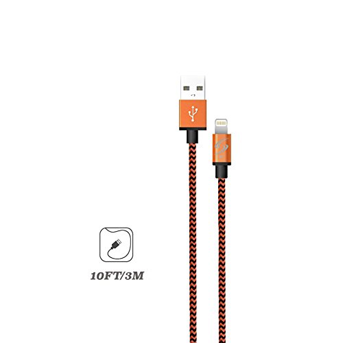 StyleTech Inc. Aluminum Nylon Braided Series 10 Feet 8 Pin Lighting Syncing Charging Cable for iPhone SE/5/6/6s/Plus iPad Mini/Air/Pro (1.) Orange)