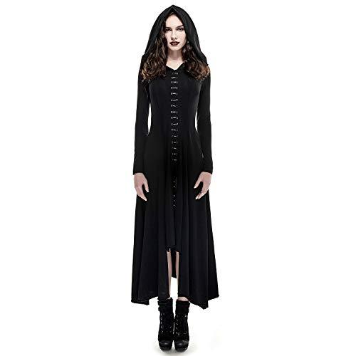 Punk Rave Women Gothic Vintage Long Sleeve Black Dresses Asymmetrical High Low Hoodie Dress Renaissance Costumes L ()