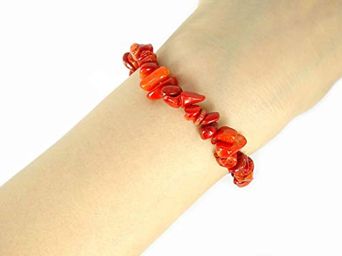 Bracelet Coral Chip Red (jennysun2010 Natural Red Coral Gemstone 5-8mm Freeformed Chip Beads Stretchy Bracelet Healing Reiki Chakra 6.5