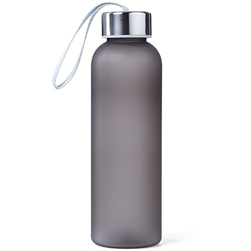 600ML Sealing Frosted Water Bottle Portable Student Cup Pop Bottle Travel Mug Can with String Outdoor Kit (Grey)