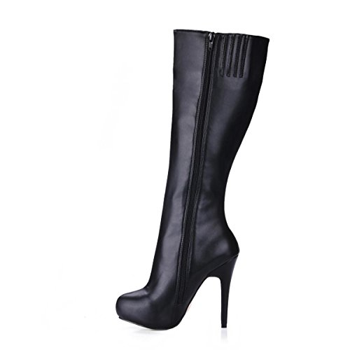 Best 4U? Women's Boots Knee High Rubber Sole Premium PU Round Toe 11CM High Heel Zipper Boots Winter Fall Solid Color Black xfpeO3R