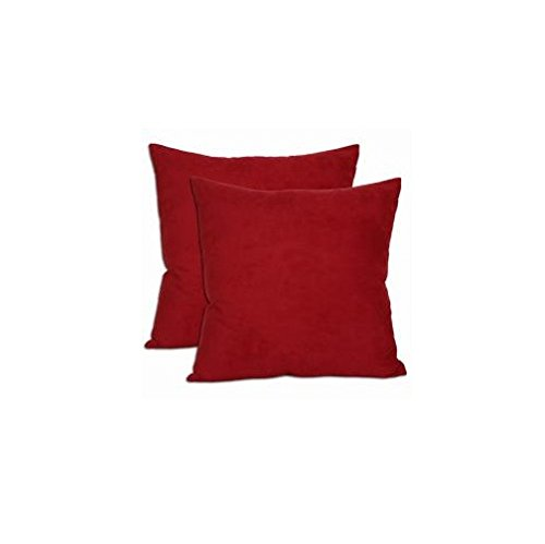 18-inch Red Microsuede Throw Pillows (Set of Two) ()