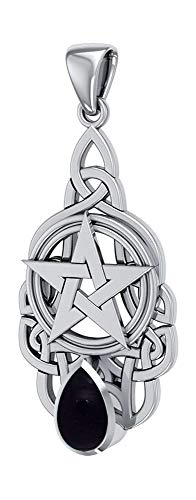 - Sterling Silver Pentacle Pendant with Celtic Knots and Synthetic Black Onyx Teardrop