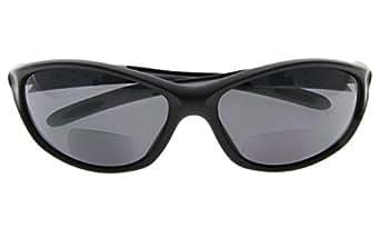 Bifocal Sports Sunglasses Baseball Running Fishing Reading Glasses For Men And Black Frame Grey Arm +1