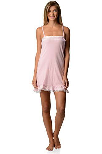 Ruffle Trim Cami (Casual Nights Women's Jersey Lace Trim Chemise Nightie - Light Pink - Small)