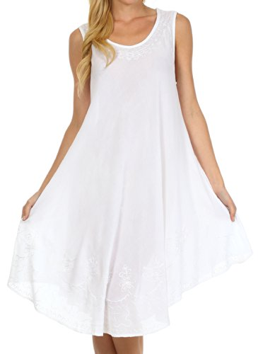 Sakkas 1051 Everyday Essentials Caftan Tank Dress/Cover Up - White - One Size