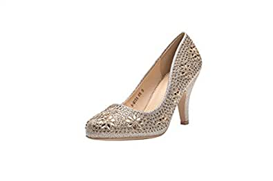 Ashley A (AA-MAYRA05 Princess Sparkle Crystal Gem Rhinestone Glitter Formal Pumps, Wedding Shoes Evening Dress Heels for Women Gold Size: 5.5