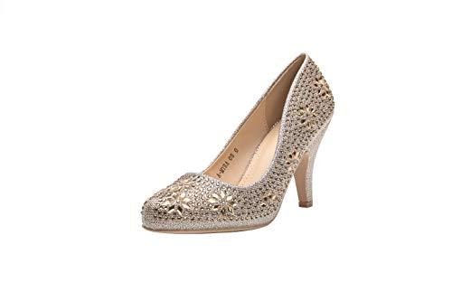 Ashley A (AA-MAYRA05 Princess Sparkle Crystal Gem Rhinestone Glitter Formal Pumps, Wedding Shoes Evening Dress Heels for Women R.Gold 10 -