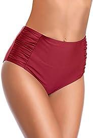 SHEKINI Women's Retro High Waisted Bikini Bottom Ruched Side Swim Short Tank