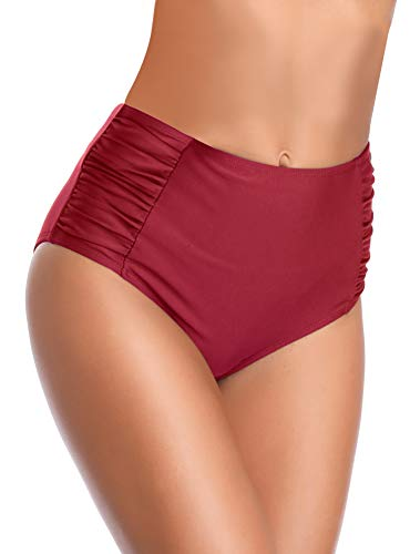 SHEKINI Women's Retro High Waisted Bikini Bottom Ruched Side Swim Short Tankinis (Wine Red, X-Large) ()