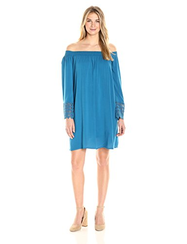 James & Erin Women's Off-The-Shoulder Shift Dress with Lace