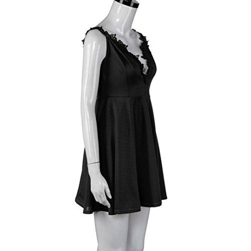 OVERDOSE Damen Reizvolles Festes Sleeveless Kleid Weg vom Schulter Minikleid Rock Schwarz jTz20F