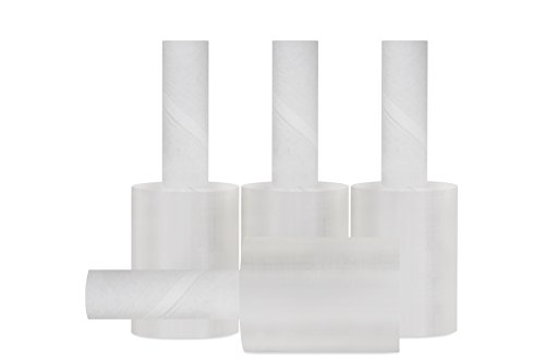 Stretch Wrap Film, Extended Core Handle Shrink Wrap, Clear, 5 Inch x 1000 Feet, 80 Gauge, 12 Pack