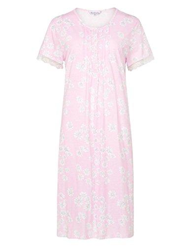 Slenderella ND7108 Women's Daisy Pink Floral Cotton Night Gown Loungewear Nightdress