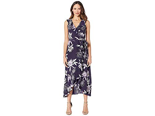 (VINCE CAMUTO Women's Printed CDC V-Neck Faux Wrap Dress Navy Multi 6)