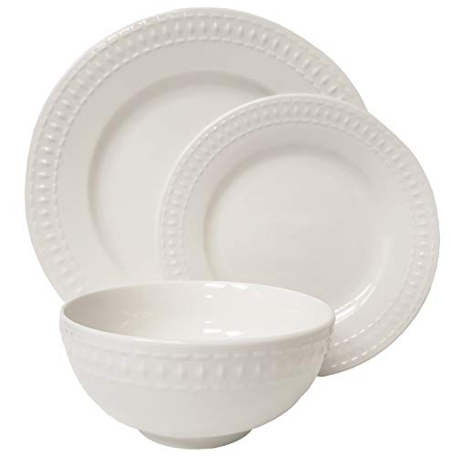 Tabletops Gallery Embossed Bone White Porcelain Round Dinnerware Collection- Chip Resistant Scratch Resistant, Bloom 12 Piece Dinnerware Set (Dinner Plate, Salad Plate, Cereal Bowl) - GREAT CRAFTSMANSHIP. The sound of plates breaking can be cause for celebration...unless it's your plate that just hit the floor and broke into a million pieces. Fear not, this set is made with highly durable Vitrified Porcelain that is fired at a much higher temperature making it chip resistant. While dropping them onto a tile floor isn't recommended, this set can take the repeated dropping of heavy knifes or forks. EASY MAINTENANCE. If you hate washing dishes as much as we do don't fret, this set is dishwasher safe. For even more convenience, use them in the microwave, freezer, and oven (up to 400 F). DESIGNED TO LAST. Tabletops Gallery's Embossed Dinnerware comes in a soft bone off-white color with beautiful understated patterns that compliment and elevate any table setting. The subtle texture the embossing gives enhances the design that was created to survive the test of time. - kitchen-tabletop, kitchen-dining-room, dinnerware-sets - 31gPnem3FVL -