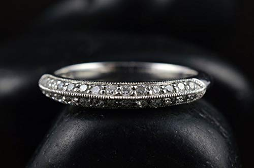 Moissanite Wedding Band in White Gold, Round Brilliant Cut, Double Row Pave Knife Edge Setting with Beaded Milgrain, Free - Milgrain Setting