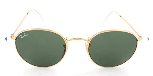 Ray-Ban RB3447 Round Metal Sunglasses, Gold/Green, 50 ()