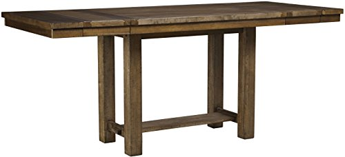 - Ashley Furniture Signature Design - Moriville Counter Height Dining Room Table - Grayish Brown