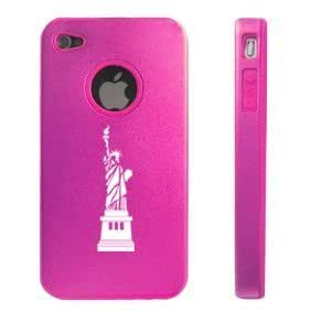 Apple iPhone 4 4S Hot Pink D4101 Aluminum & Silicone Case Cover Statue of Liberty