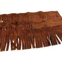 Brown Leather Fringe - Fringe - Genuine Suede Leather Trim 4