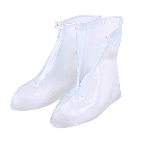 CapsA Waterproof Shoes Cover Rain Snow Women Men Boots Covers Rain Shoes Boots Covers Overshoes Galoshes Travel for Men Women Kids (White, ()