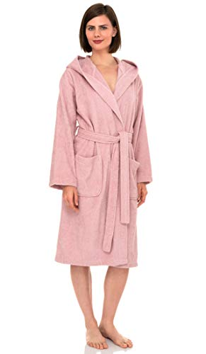 TowelSelections Women's Hooded Robe, Cotton Terry Cloth Bathrobe Medium Coral Blush (Pure Cotton Terry Bathrobe)