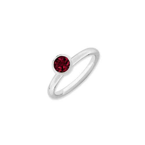 Stackable Expressions Sterling Silver with 5mm Red Swarov...