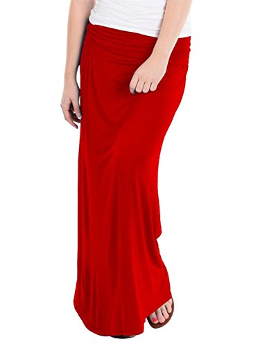 Hybrid & Company - Women's Maxi Skirt W/ Fold Over Waist Band - Made in the USA, Red, Medium - Fold Over Skirt Waist
