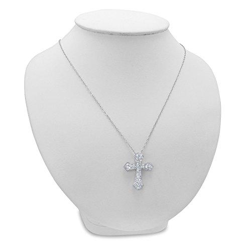 Sterling Silver Cross Pendant-necklace fabriqué avec cristaux Swarovski