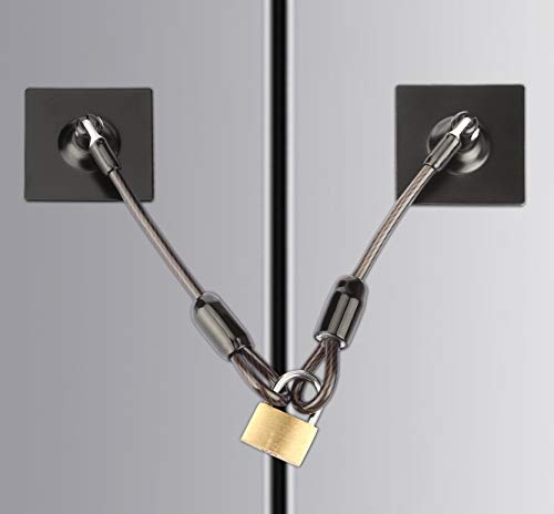 Fridge Lock,Refrigerator Door Lock with Padlock,Black