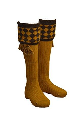 Walker and Hawkes Chessboard - Herren Strümpfe mit Rautenmuster und passenden Zierbändern - für die Jagd geeignet - Senfgelb - Größen S bis XL