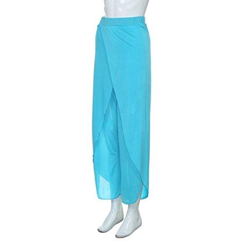 Pantalones de Mujer, ✽Internet�?Pantalones De Pierna Ancha Pantalones Largos De La Yoga Floja Ocasional De Las Mujeres Azul