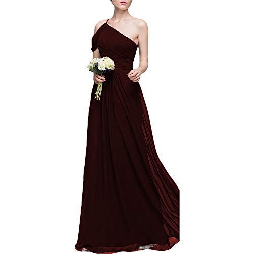 Dreagel Une Robe De Demoiselle D'honneur En Mousseline De Soie Épaule Longues Robes Plissées Fête De Mariage Du Soir Bordeaux Foncé Des Femmes
